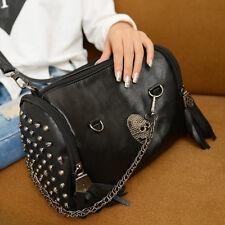 All Matched Women Skull Rivet Tassels Shoulder Bag Handbag Crossbody Black ls