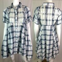NWT Kyla Seo Women's Small Plaid Aztec Embroidered High-Low Tunic Shirt Dress