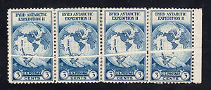 US # 733 (1933) 3c - MH(OGph) - EFO: 'Pre-printing paper fold' on 4 stamps!