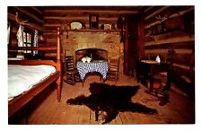 Interior Jack Kelso Cabin Postcard New Salem State Park Illinois Bear Rug Table