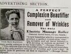 1906 Electric Massager Wrinkle Remover Quack Medical Equipment Device Print Ad