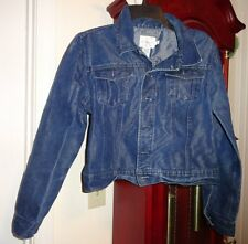 M Womens Junior Calvin Klein Blue Jean Jacket Denim Trucker Metal Buttons Pocket