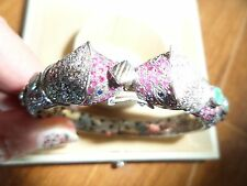 Panther Head Diamond Ruby Sapphire Emerald  Sterling Silver Bangle Bracelet