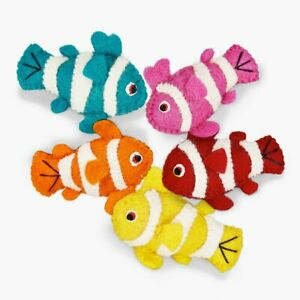 5 Set Felted Fish Toys, 100% New-Zealand Wool, For Cats and Small Dog, Handmade
