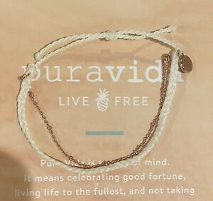Pura Vida White Mini Braided Bracelet with Rose Gold Satellite Chain