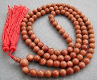 Tibet Buddhist Goldstone 108 Prayer Beads Mala Necklace--8mm