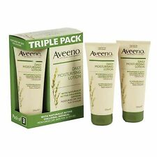 NEW Aveeno Daily Moisturising Lotion 3 x 200ml Dry Skin With Oatmeal