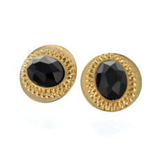 SALE Fashion Jewellery: Vintage Inspired Gold Tone and Black Acrylic Stud Ear...