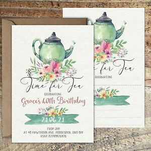 BIRTHDAY INVITATIONS Tea Party Personalised or Blank Any Age PK 10