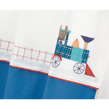 Hiccups Toot Toot Appliqued Train Blue White Pair Tab Top Curtains Nursery Decor