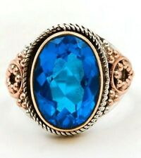 Three Tone 6CT London Blue Topaz 925 Sterling Silver Ring Jewelry Sz 7 EA33-2