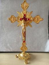"Antique Gold Cross INRI Catholic Altar Standing Religious Crucifix Base 10"" Inch"