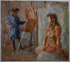 Russian Ukrainian Soviet Oil Painting Impressionism nude figure girl artist