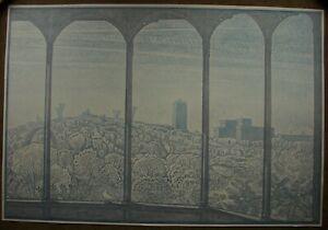 Russian Ukrainian Soviet Linocut drawings symbolism City panorama Kyiv pigeon