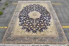 Isfahan Silk base 700 KPSI 11x14 masterpiece Esfahan Persian Rug Royal Navy