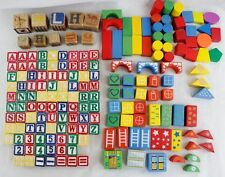 Wooden Alphabet Letters Numbers Shapes Building Blocks Colorful Wood Tile 183 Pc