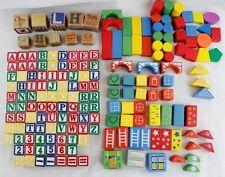 Wooden Alphabet Letters Numbers Shapes Building Blocks Colorful Wood Tile 183 Pc