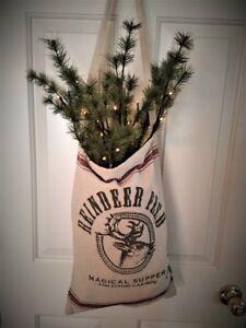 Reindeer Feed Sack Santa Bag Pre-Lit Pine Twigs Greenery Farmhouse Christmas NEW