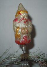 "Vtg 5"" German Santa Claus Yellow Blown Mercury Glass Clip On Christmas Ornament"