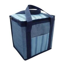 Insulated Picnic Cool Bag Zipped With Handles Blue Denim Design 12 Litre NEW