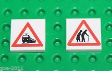 Lego 2x White Tile 2x2 Custom Printed Road Sign NEW!!! 1