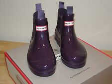 Kids Hunter Original Chelsea PullOn Rubber Boots Purple Gloss Girls Sz 12 Ankle