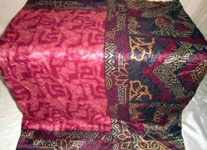 BVH WEARABLE PURE SILK Vintage Sari Saree 5yds W39 W290 Black Wine #ABCN5