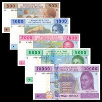 Central African (Cameroo) Set 5 PCS, 500 1000-10000 Francs, 2002, U Prefix, UNC