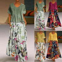 Women Leisure O-Neck Loose 3/4 Sleeve Vintage Casual Floral Print Long Dress