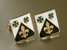 Vtg Swank Fleur De Lis Clover Shield Gold Tone White Black Enamel Cuff Links