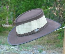 BROWN SUEDE LEATHER & MESH AUSSIE BUSH HAT / OUTDOORS / GARDENERS / BOWLING HAT