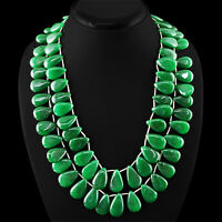 GORGEOUS EVER 865.00 CTS EARTH MINED 2 STRAND RICH GREEN EMERALD BEADS NECKLACE