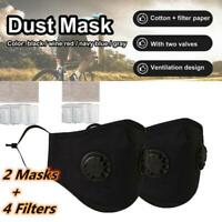 Washable Reusable PM2.5 Anti Air Pollution Face Mask Respirator 2 Mask+4 Filters