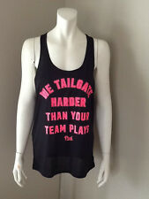 VICTORIA'S SECRET PINK WE TAILGATE HARDER BLACK TANK TOP NEW WITH TAG SIZE SMALL