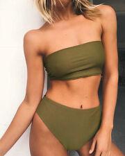 Womens Swimwear Bra Top&Bottom Crop Bikini Set High Waist Swimsuit Bathing Suit
