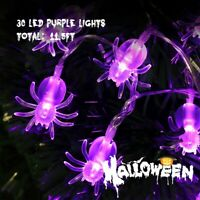 30LED Halloween Spider Battery LED Lights String Fairy Party Garden Wall Decor