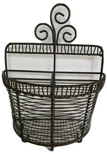 Wire Basket & Key Holder Gray Metal Wall Hanging or Free Standing