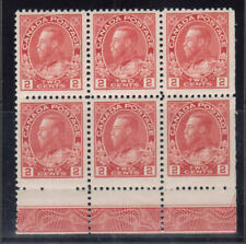 Canada #106 Very Fine Never Hinged Lathework B Block Of Six