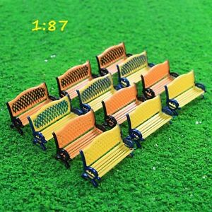 12pcs Model Railway 1:87 HO Scale Platform Park Street Seats Bench Settee Chair
