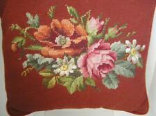 "HAND NEEDLEPOINT Victorian  FLORAL Bouquet Cranberry Square  PILLOW  15""x 14"""