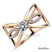 WOMEN'S ROUND CUT CZ ROSE GOLD STAINLESS STEEL WIDE BAND FASHION RING SIZE 5-10