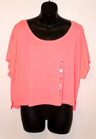 NWT VICTORIA'S SECRET PINK SLOUCHY CROPED YOGA TEE SHIRT T-Shirt Dog LOGO Coral