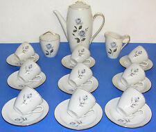 Service à café porcelaine de Saint Amand modèle Corinne 21 pièces roses bleues
