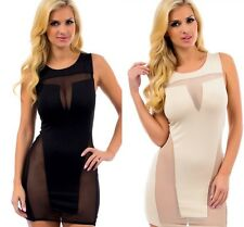 ULTRA-SEXY MESH SEE-THRU Plunge CLUB MINI DRESS S/M/L Black/Nude NEW Free Ship!