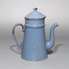 Vintage French Enamelware Graniteware Blue and White Enamel Coffee Pot