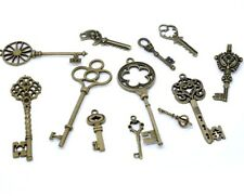 12 x Antique Bronze Steampunk Mixed Key Charms Jewellery 75mm - 26mm Q162