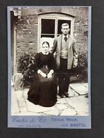 Victorian Cabinet Card Photo: Couple: Carter & Co: Bristol: Outside House Sheers
