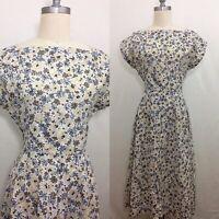 Vintage 50s Floral Handmade Cotton Sundress Size Small/Medium