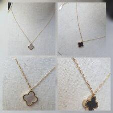 collier Plaque Or Rose Gold Trèfle Réversible Nacre/onyx Noir/blanc Réf Cleef2