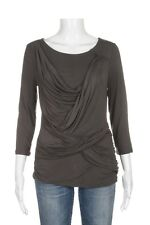 KAREN MILLEN Ruched Front 8 Top 3/4 Sleeve Gray Tee Blouse Tunic Draped